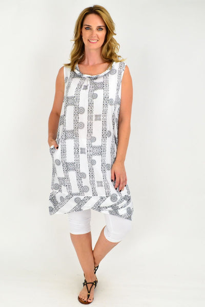 Orientique Abbruzzo Black White Tunic Dress
