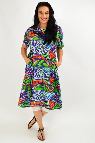 Navy Multicolour Shift Tunic Dress