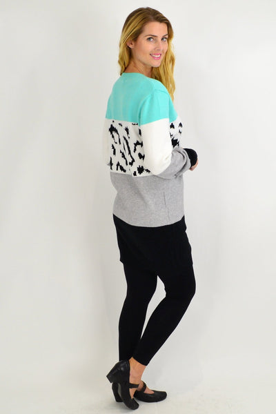 Turquoise Woolly Winter Tunic Jumper - I Love Tunics
