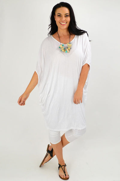 White crinkle Relaxed Tunic