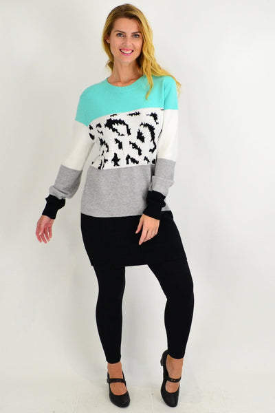 Turquoise Woolly Winter Tunic Jumper