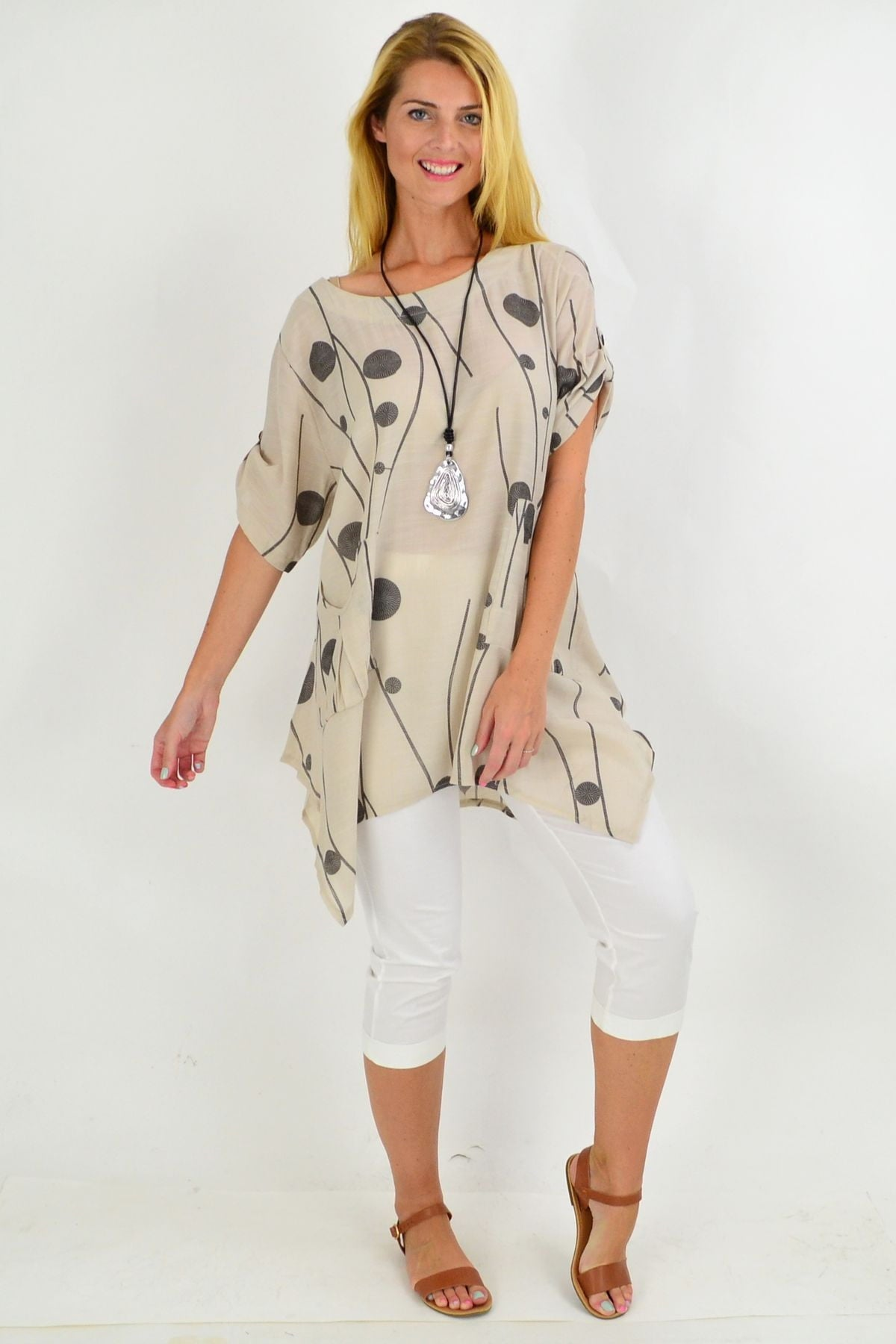 Taupe Charcoal Deb Dots Tunic Top | I Love Tunics | Tunic Tops | Tunic | Tunic Dresses  | womens clothing online