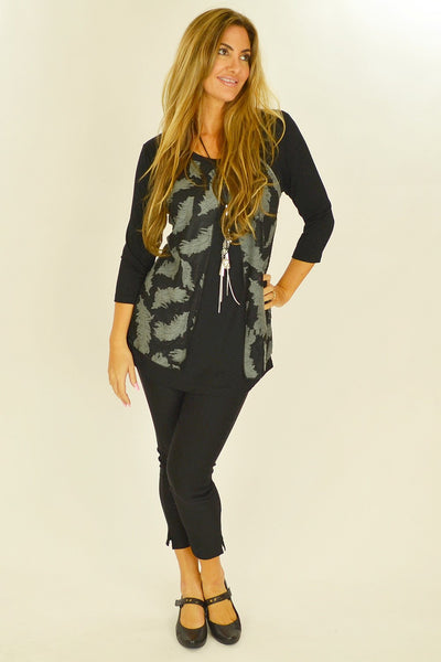 Black Heather Feathers Tunic