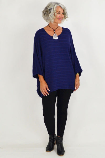Mandy Blue Textured Knit Tunic