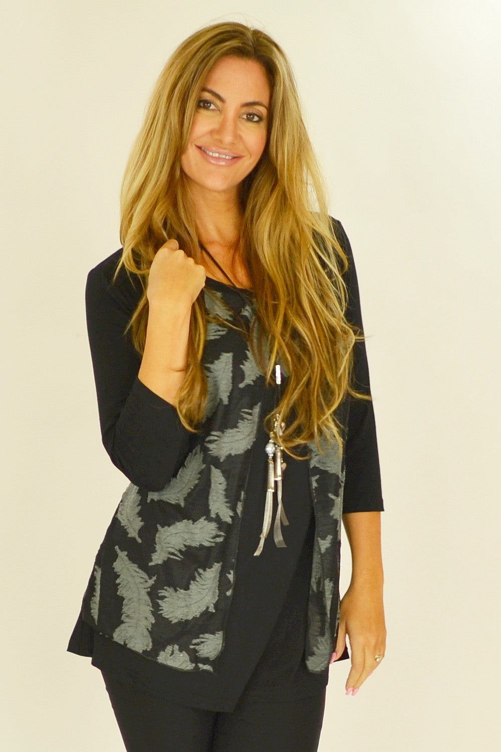 Black Heather Feathers Tunic | I Love Tunics | Tunic Tops | Tunic | Tunic Dresses  | womens clothing online