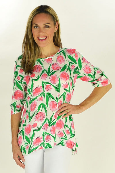 Pink Tulips Tunic - at I Love Tunics @ www.ilovetunics.com = Number One! Tunics Destination