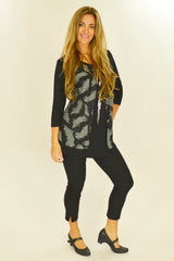 Black Heather Feathers Tunic - at I Love Tunics @ www.ilovetunics.com = Number One! Tunics Destination