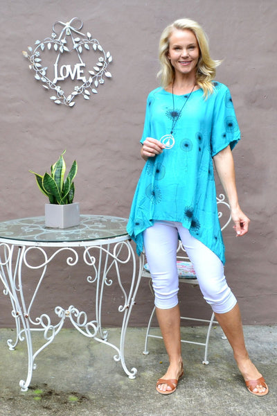 Aqua Dandelion Wish Tunic Top - I Love Tunics