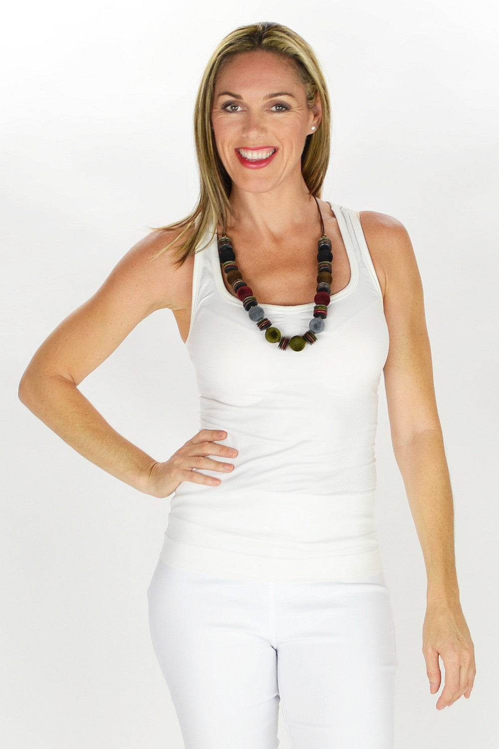 Disks & Velvet Balls Necklace - at I Love Tunics @ www.ilovetunics.com = Number One! Tunics Destination