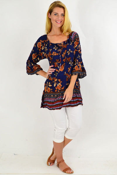Navy Floral Crinkle Tie Tunic Top