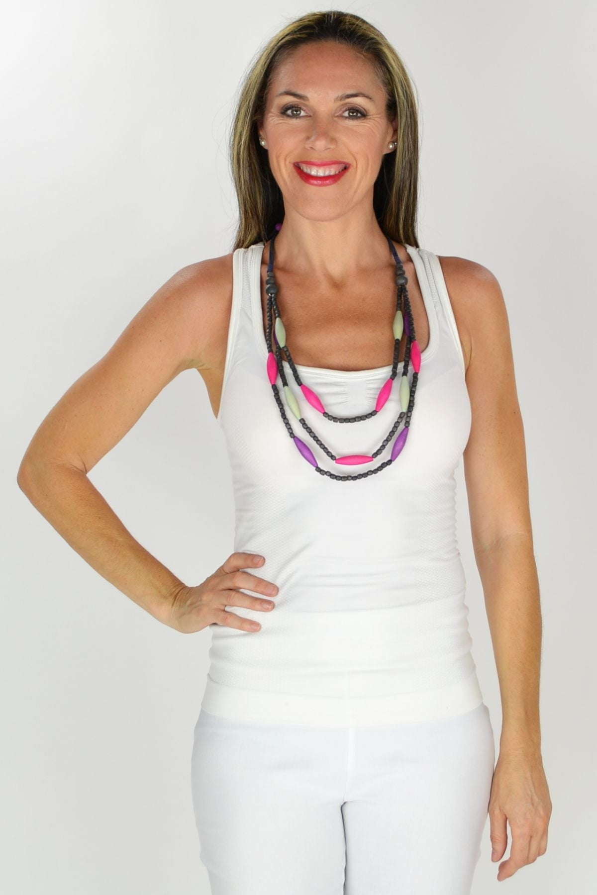Multistrand Purple and Green Necklace | I Love Tunics | Tunic Tops | Tunic | Tunic Dresses  | womens clothing online