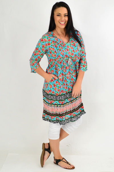 Orange Floral Crinkle One Summer Tunic Dress