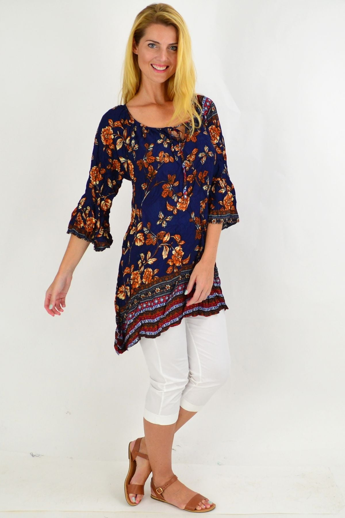 Navy Floral Crinkle Tie Tunic Top | I Love Tunics | Tunic Tops | Tunic | Tunic Dresses  | womens clothing online