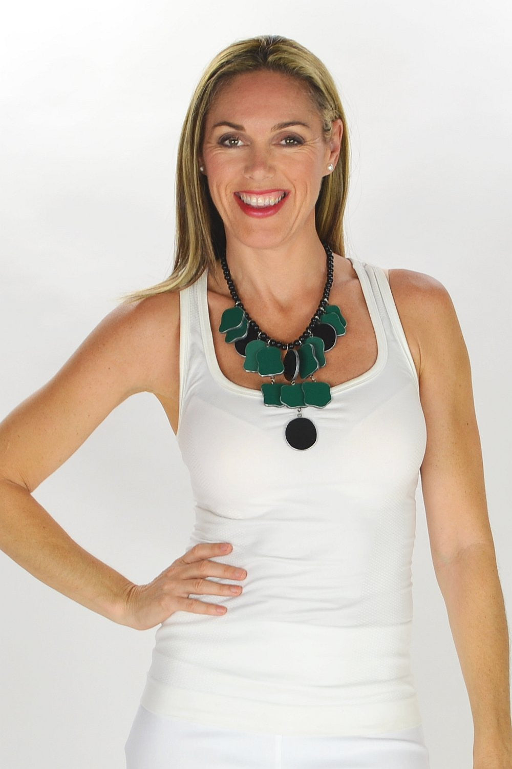 Green Black Necklace - at I Love Tunics @ www.ilovetunics.com = Number One! Tunics Destination
