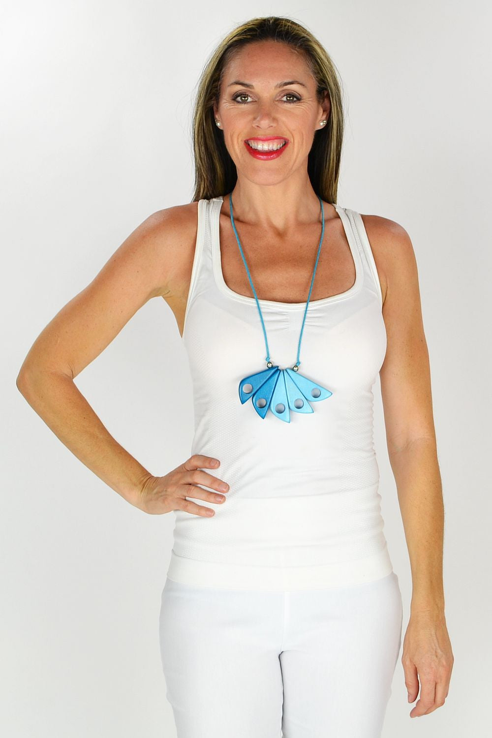 Blue Wooden Feather Necklace - at I Love Tunics @ www.ilovetunics.com = Number One! Tunics Destination