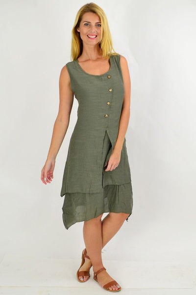 Khaki Button Overlay Summer Tunic Dress