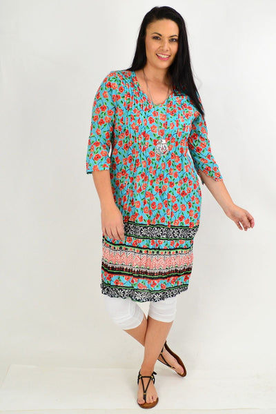 Orange Floral Crinkle One Summer Tunic Dress | I Love Tunics | Tunic Tops | Tunic | Tunic Dresses  | womens clothing online