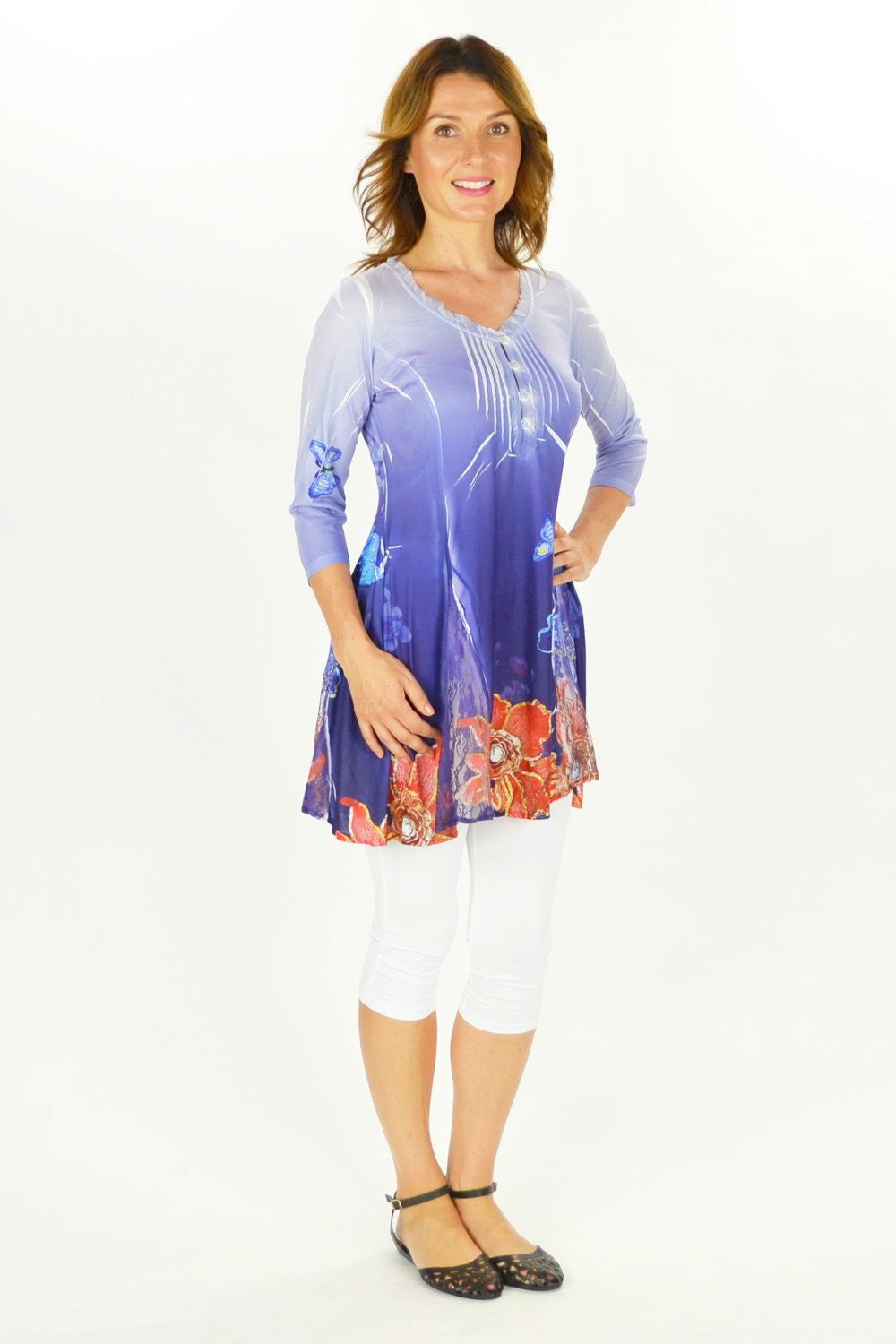 Flowers and Butterfly Tunic - at I Love Tunics @ www.ilovetunics.com = Number One! Tunics Destination