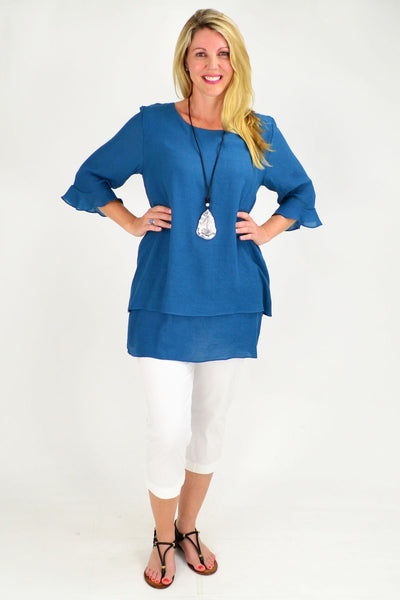 Peppers Navy Blue Cross over Tunic Blouse