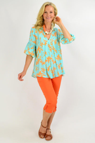 Turquoise Floral V Neck Swing Tunic Top