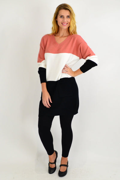 Salmon V neck Woolly Winter Tunic Jumper