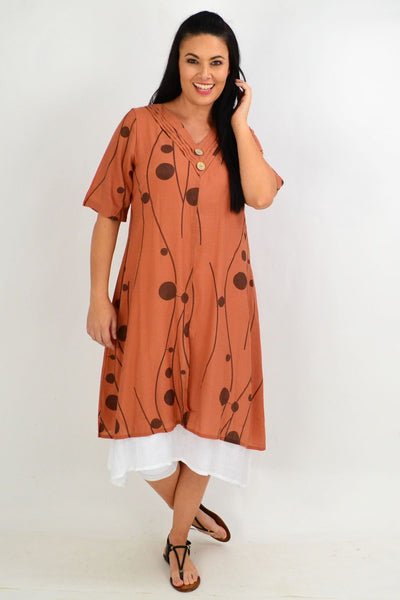 Rust Line Dot Overlay Tunic Dress