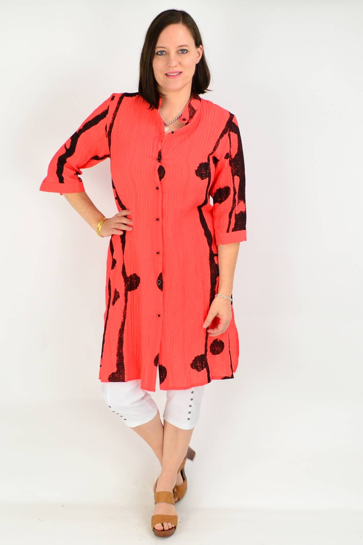 Burnt Orange Button up Long Tunic Shirt | I Love Tunics | Tunic Tops | Tunic Dresses | Women's Tops | Plus Size Australia | Mature Fashion