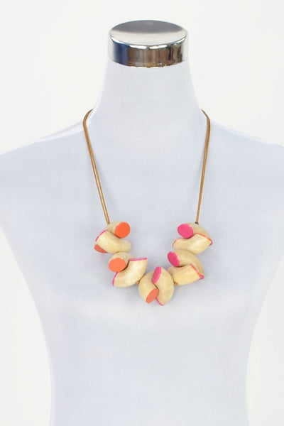Orange Pink Macaroni Necklace - at I Love Tunics @ www.ilovetunics.com = Number One! Tunics Destination