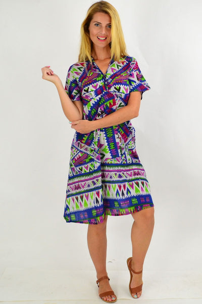 Multicolour Aztec Tunic Dress