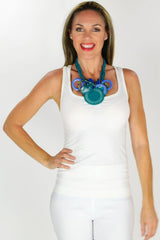 Blue Aqua Disks Necklace | I Love Tunics | Tunic Tops | Tunic Dresses | Women's Tops | Plus Size Australia | Mature Fashion