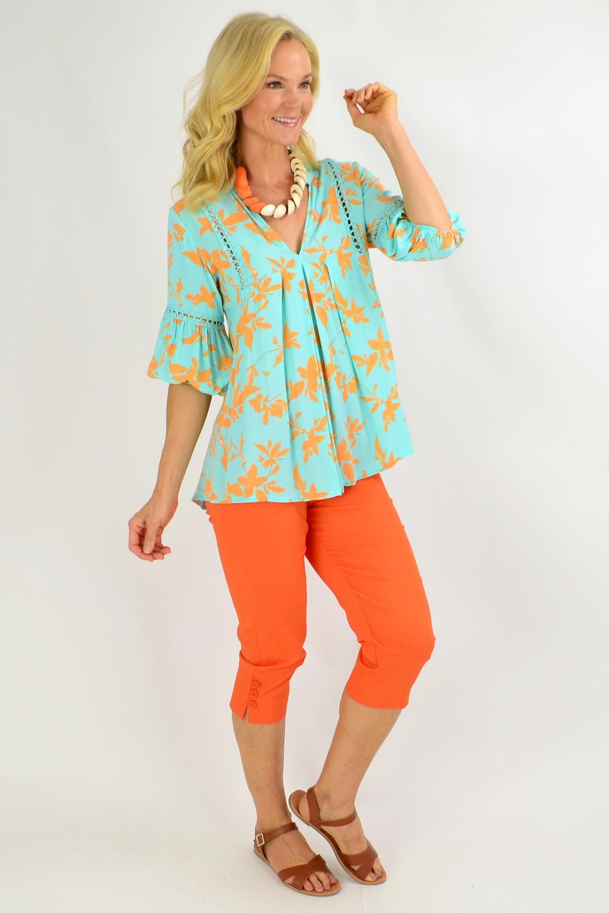 Turquoise Floral V Neck Swing Tunic Top | I Love Tunics | Tunic Tops | Tunic | Tunic Dresses  | womens clothing online