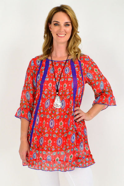 Kashi Orange Cotton Lined Tunic size and price | I Love Tunics | Tunic Tops | Tunic | Tunic Dresses  | womens clothing online