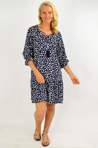 Navy Spot Dandelion Tunic Dress | I Love Tunics | Tunic Tops | Tunic | Tunic Dresses  | womens clothing online