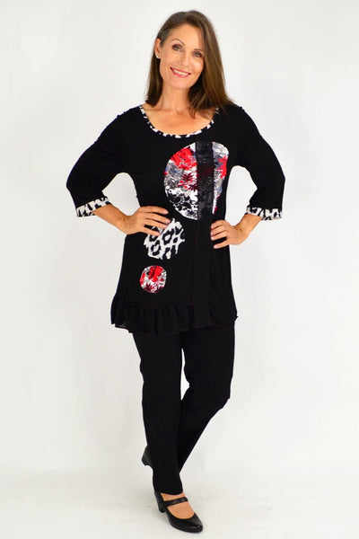 Black Aiko Lace Trim Tunic Top