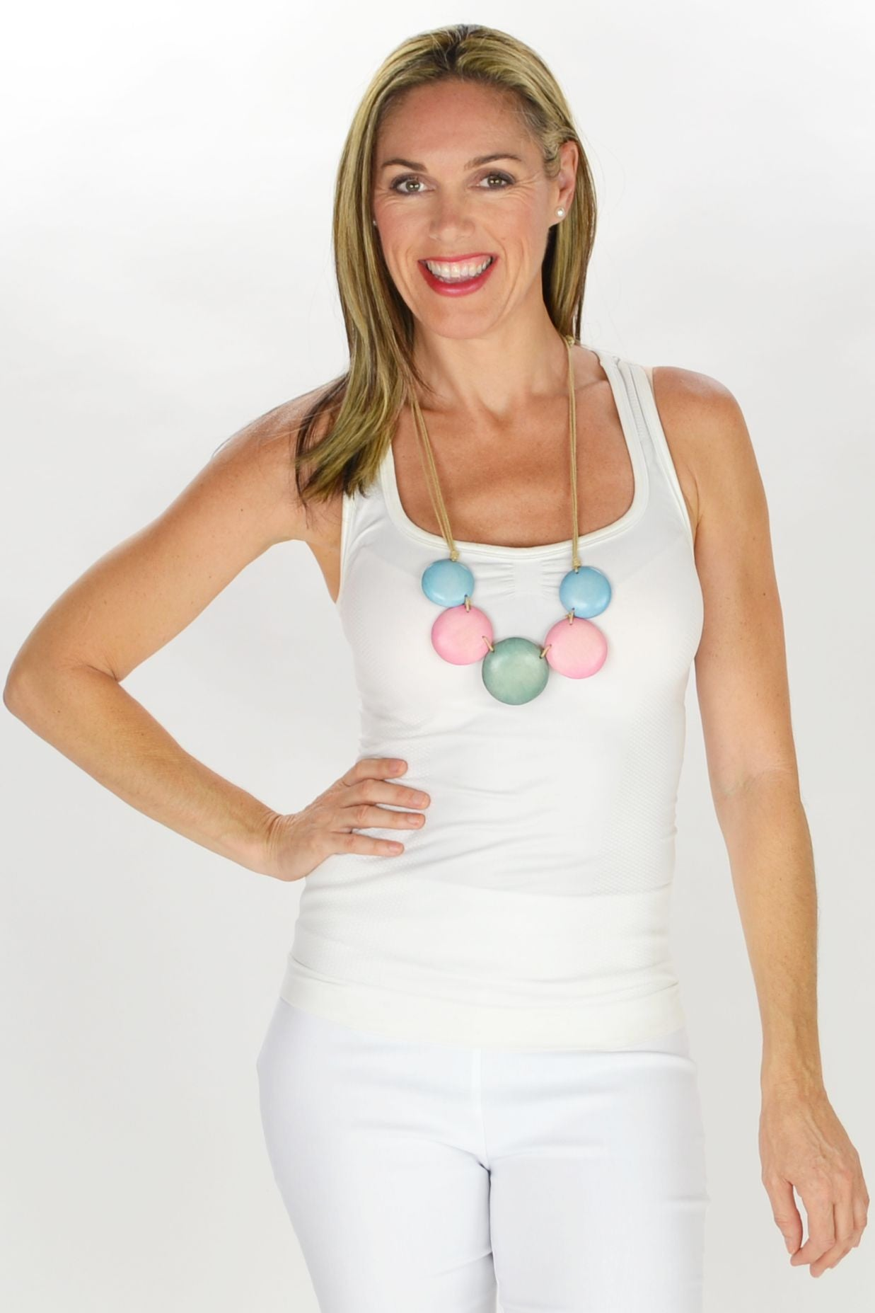 Blue Pink Disks Necklace - at I Love Tunics @ www.ilovetunics.com = Number One! Tunics Destination