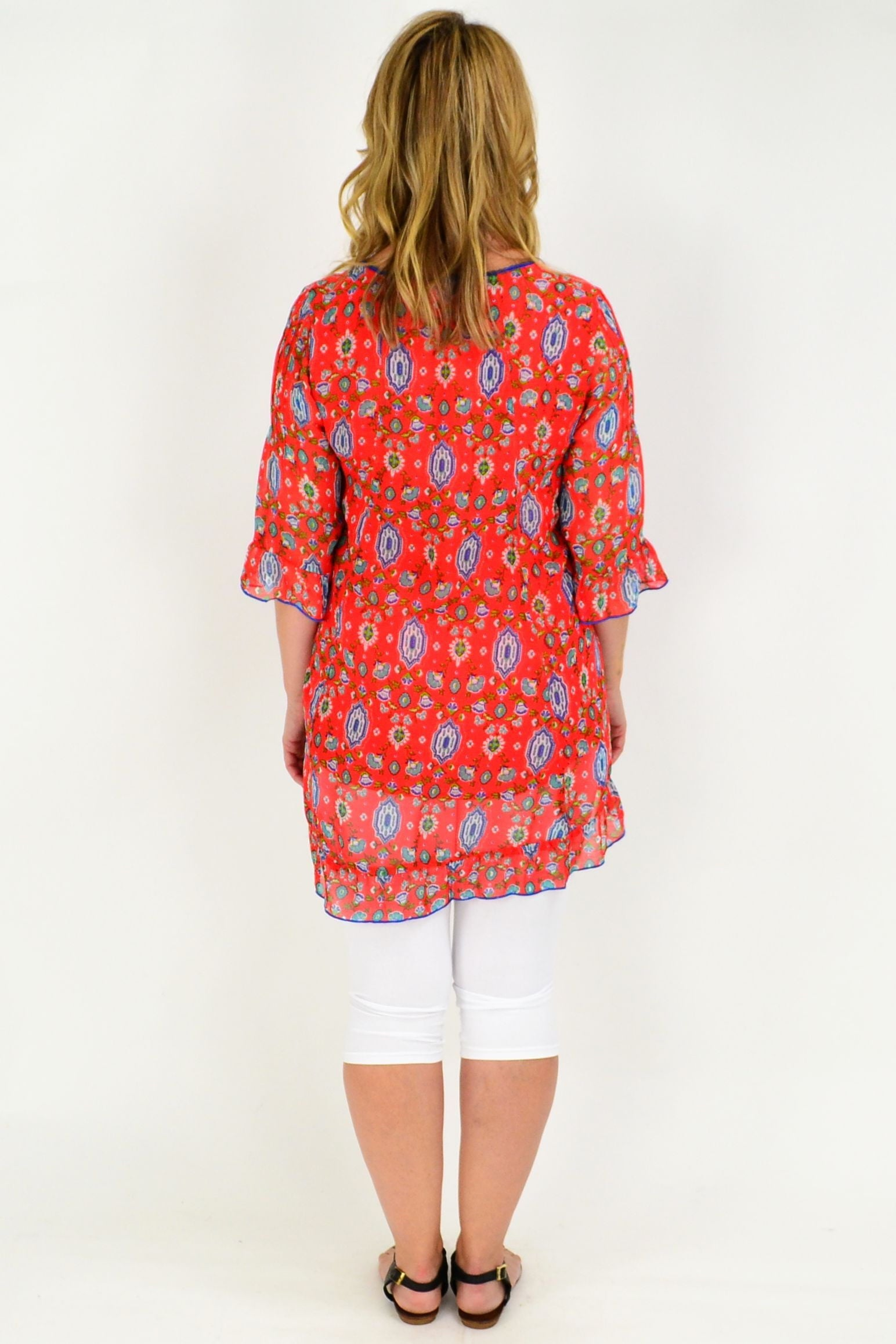 Kashi Orange Cotton Lined Tunic size and price