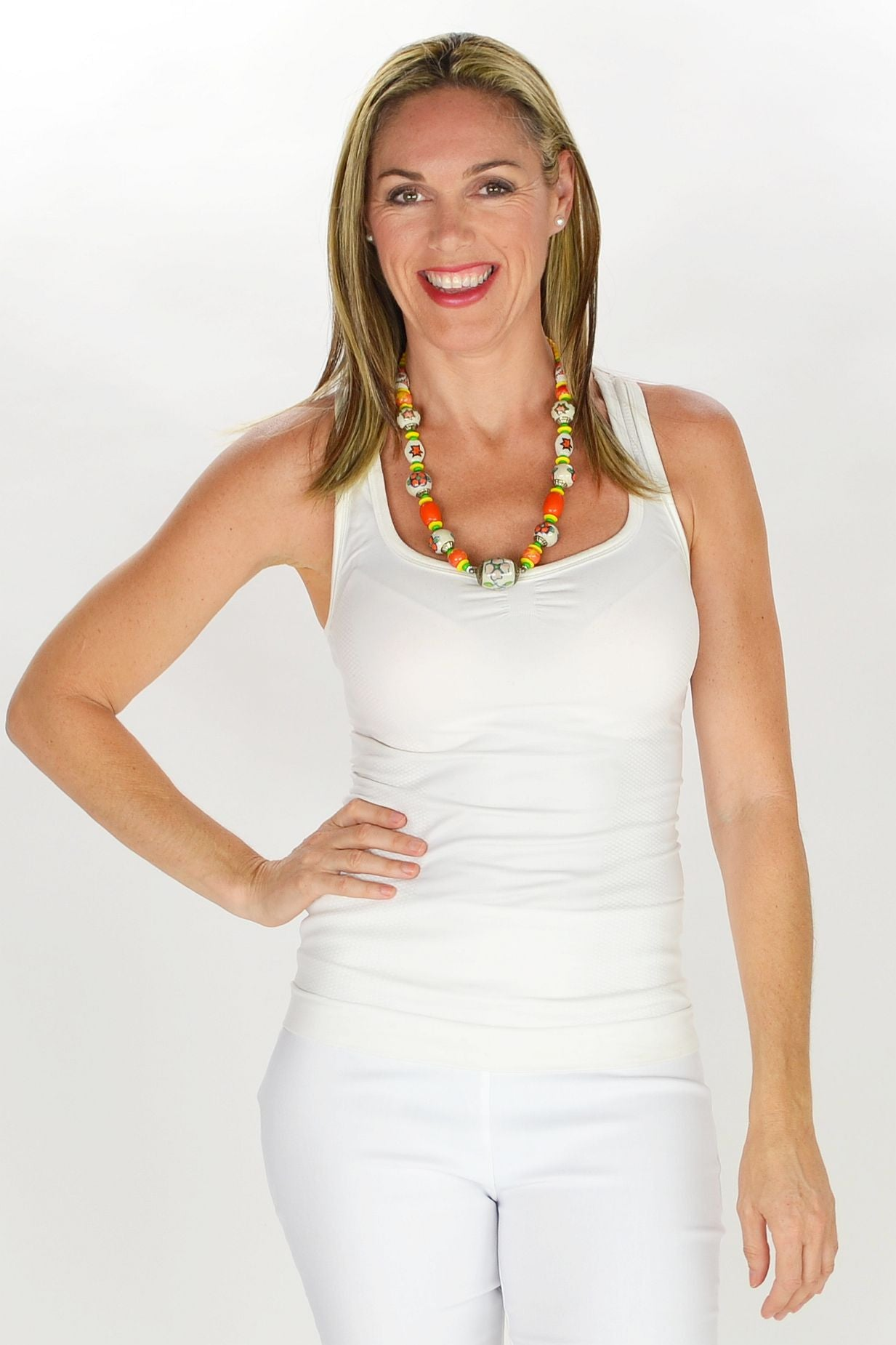 Orange Ceramic Beads Necklace - at I Love Tunics @ www.ilovetunics.com = Number One! Tunics Destination