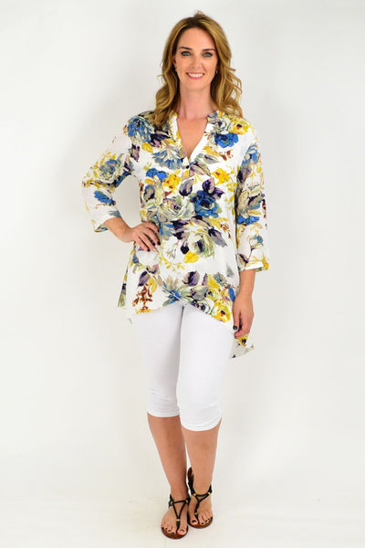 Cream Floral Blue Button Up Sleeve Tunic