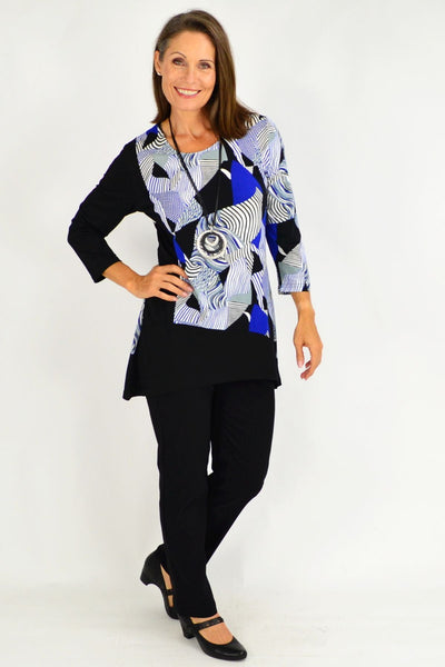 Zoey Blue Black Tunic Top