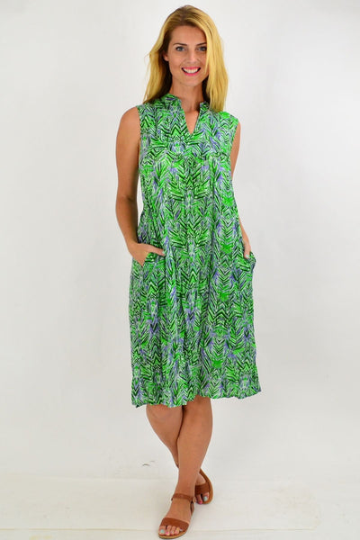 Green Palm Leaf Tunic Dress