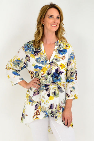 Cream Floral Blue Button Up Sleeve Tunic Shirt