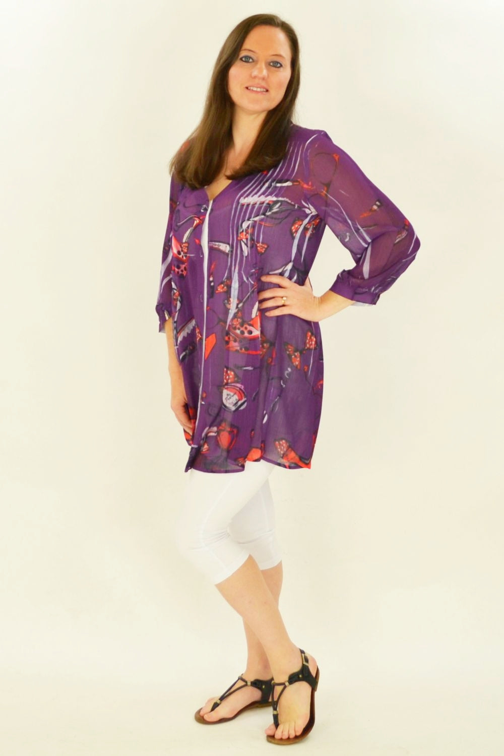 Purple Shoe Tunic Shirt - at I Love Tunics @ www.ilovetunics.com = Number One! Tunics Destination