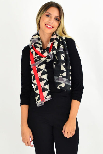 Black Red Olivia Scarf