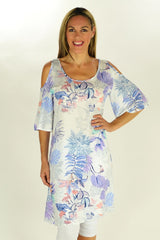 Purple Tropical Garden Tunic - at I Love Tunics @ www.ilovetunics.com = Number One! Tunics Destination