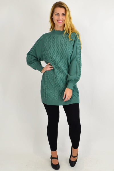 Green Cable Knit Woolly Tunic Jumper