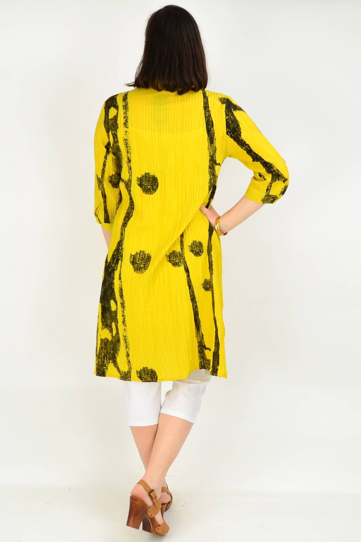 Mustard Button up Long Tunic Shirt