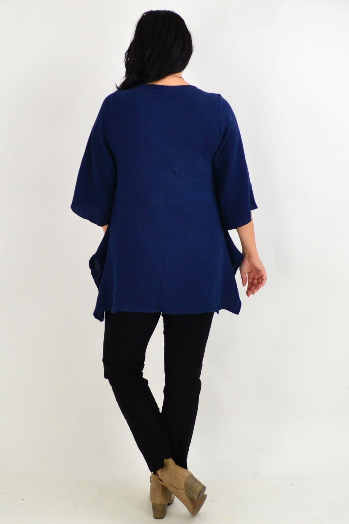 Navy Blue Cotton Pocket Tunic Top | I Love Tunics | Tunic Tops | Tunic | Tunic Dresses  | womens clothing online