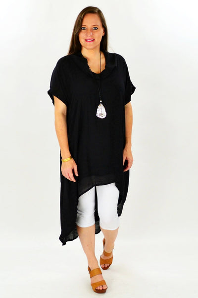 Black Hayman Island Tunic | I Love Tunics | Tunic Tops | Tunic Dresses | Women's Tops | Plus Size Australia | Mature Fashion