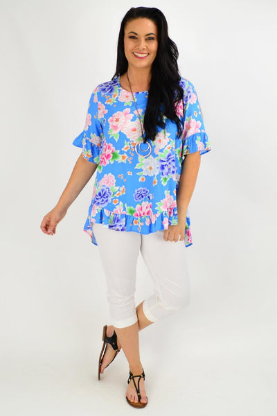 Sky Blue Floral Swing Tunic Top | I Love Tunics | Tunic Tops | Tunic | Tunic Dresses  | womens clothing online