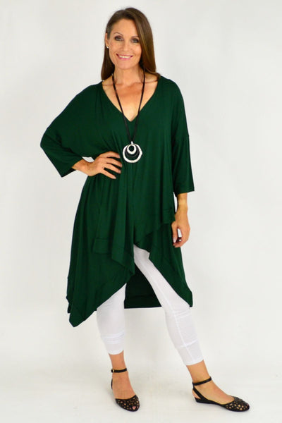 Green Julianne Relaxed Stretch Jersey Tunic